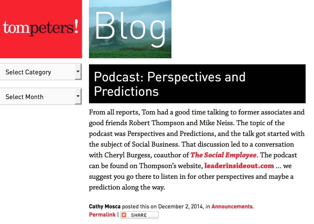 Tom Peters Tom Peters Blog 2014122